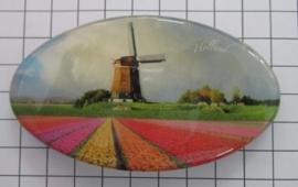 Haarspeld ovaal HAO 306 molen met tulpenveld kleurig