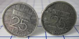Manchetknopen verzilverd kwartje/25 cent 2000