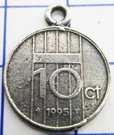 MHB050 5 stuks bedel dubbeltje verzilverd met hangoogje jaartal 1995
