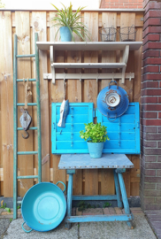 Oude Brocante set Luiken Shutters aquablauw