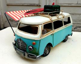 Model Bus blauw met rood/wit zonnescherm