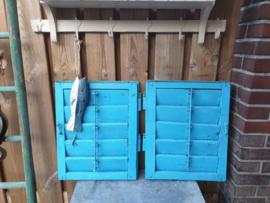 Oude Brocante set Luiken Shutters aquablauw