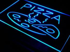 Pizza neon bord lamp LED 3D verlichting reclame lichtbak *BLAUW*