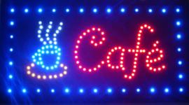 Cafe koffie lamp LED verlichting reclame bord lichtbak #D