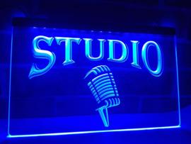 Studio microfoon neon bord lamp LED cafe verlichting reclame lichtbak *blauw*