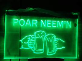 Poar neem'n bier neon bord lamp verlichting reclame lichtbak