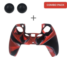 Silicone hoes skin case cover voor PS5 playstation 5 controller *rood camouflage*