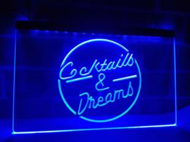 Cocktails & dreams en neon bord lamp verlichting cocktail *blauw*