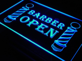 Kapper barber open neon bord lamp LED verlichting reclame lichtbak *BLAUW*