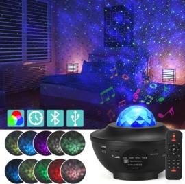 Galaxy star projector led sterren nachtlamp plafond bluetooth sterrenhemel *ZWART*