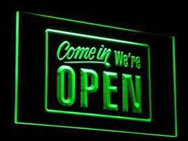 OPEN neon bord lamp LED 3D verlichting reclame lichtbak #25 COME IN *GROEN*
