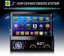 Klapscherm 7 inch 1 Din autoradio navigatie WIFI USB BT CD DVD + camera