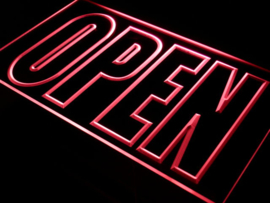OPEN neon bord lamp LED 3D verlichting reclame lichtbak #14 *ROOD*