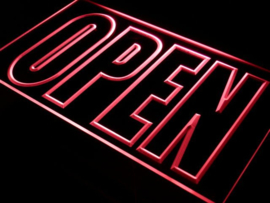 OPEN neon bord lamp LED verlichting reclame lichtbak XL *40x30cm* ROOD