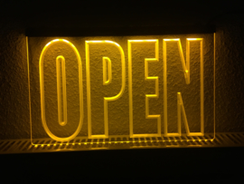 OPEN neon bord lamp LED 3D verlichting reclame lichtbak #10 *GEEL*