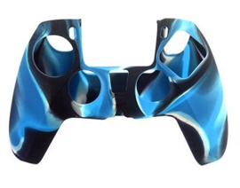 Silicone hoes skin case cover voor PS5 playstation 5 controller *blauw camouflage*