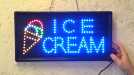Ice cream ijs LED bord lamp verlichting lichtbak reclamebord #B