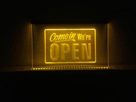 OPEN neon bord lamp LED 3D verlichting reclame lichtbak #23 COME IN *GEEL*