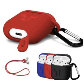 Case voor apple airpods hoes siliconen hoesje +strap +haak *3 kleuren*