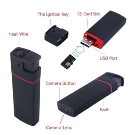 Spy aansteker spycam mini verborgen camera FULLHD IR *ZWART*