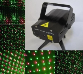 Mini laser show rood groen flash projector led disco *ZWART*