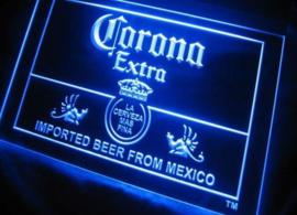 Corona neon bord lamp LED verlichting reclame lichtbak XL *40x30cm* blauw