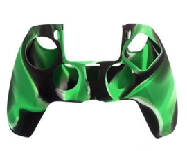 Silicone hoes skin case cover voor PS5 playstation 5 controller *groen camouflage*