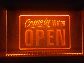 OPEN neon bord lamp LED 3D verlichting reclame lichtbak #21 COME IN *ORANJE*