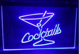 Cocktails neon bord lamp LED verlichting reclame lichtbak cocktail *blauw*