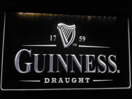 Guiness neon bord lamp LED 3D cafe verlichting reclame lichtbak *wit*
