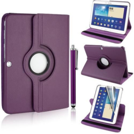 360 graden leren case hoes cover Galaxy tab 3 10.1 inch P5200 P5210 P5220 *paars*