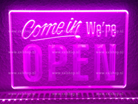 OPEN neon bord lamp LED 3D verlichting reclame lichtbak #22 COME IN *PAARS*