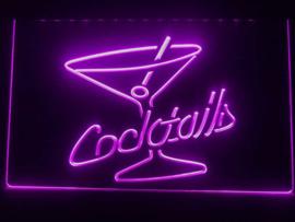 Cocktails neon bord lamp verlichting reclame lichtbak cocktail *paars*