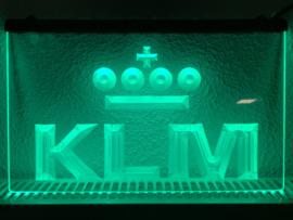 KLM neon bord lamp LED 3D cafe verlichting reclame lichtbak *groen*