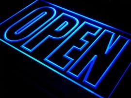 OPEN neon bord lamp LED verlichting reclame lichtbak XL *40x30cm* BLAUW