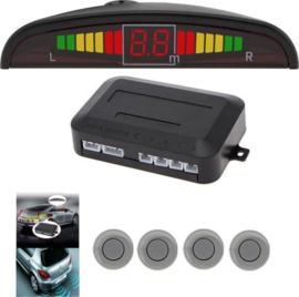 Parkeersensoren parkeer sensoren auto achter inbouw LED scherm *GRIJS*