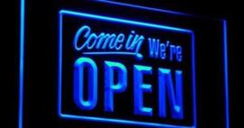 OPEN neon bord lamp LED 3D verlichting reclame lichtbak #24 COME IN *BLAUW*