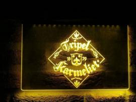 Tripel karmeliet neon bord lamp LED verlichting reclame lichtbak XL *40x30cm* GEEL
