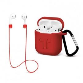 Case apple airpods hoes siliconen hoesje + strap + haak *3 kleuren*