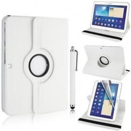 360 graden leren case hoes cover Galaxy tab 3 10.1 inch P5200 P5210 P5220 *wit*
