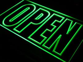 OPEN neon bord lamp LED verlichting reclame lichtbak XL *40x30cm* GROEN