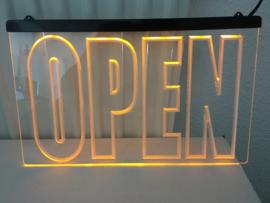 OPEN neon bord lamp LED 3D verlichting reclame lichtbak #15 *ORANJE*