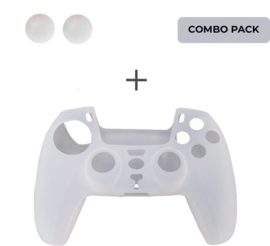 Silicone hoes skin case cover voor PS5 playstation 5 controller *wit/transparant*