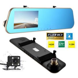 Dashcam achteruitkijkspiegel spiegel + achteruitrij camera binnenspiegel *goud*