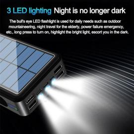 Powerbank power bank 80.000 mAh snellader oplader + zonnepaneel + 4x USB *zwart*