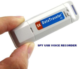 Spy USB digitale voice audio spraak recorder stereo opnemen SD WIT & ZWART
