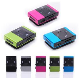 MP3 speler mini versie shuffle formaat micro sd slot + clip *5 kleuren*