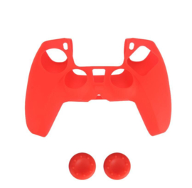 Silicone hoes skin case cover voor PS5 playstation 5 controller *rood*