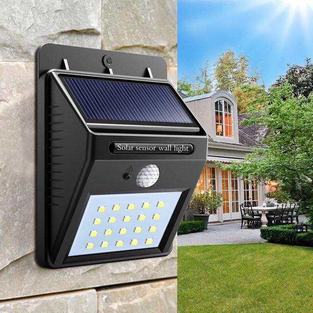 Solar buiten outdoor lamp tuin verlichting 20 led sensor *WARM WIT*