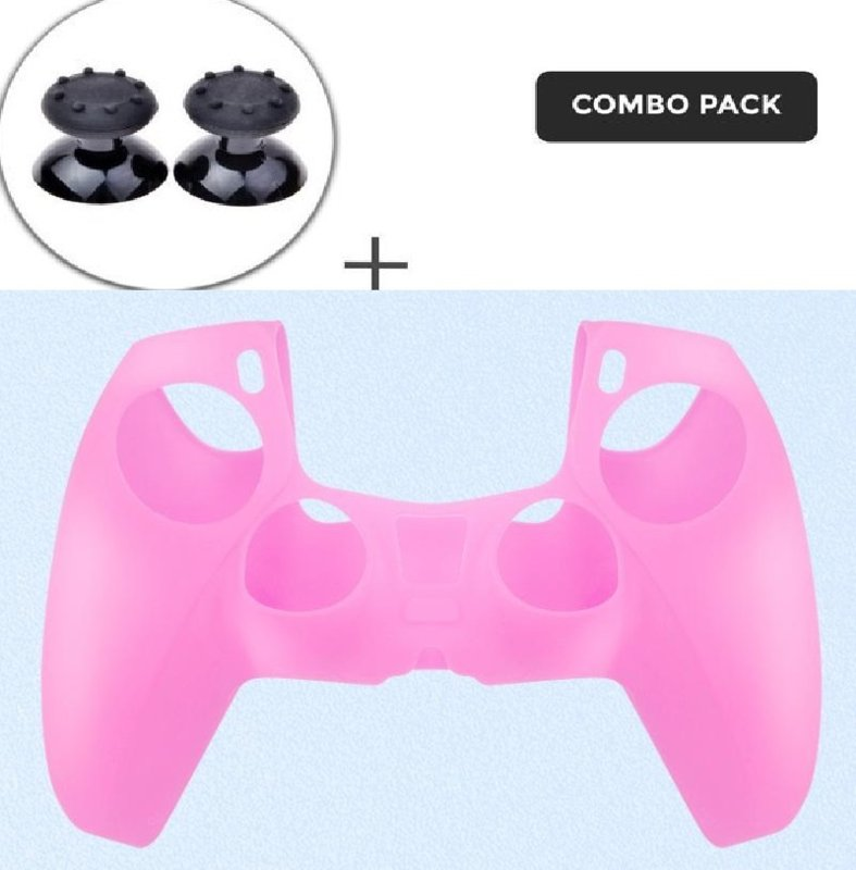 Silicone hoes skin case cover voor PS5 playstation 5 controller *roze*